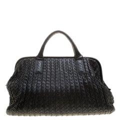 Bottega Veneta Black Intrecciato Leather New Bond Satchel