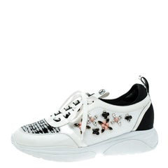 Louis Vuitton White Leather and Mesh Heat Embellished Sneakers Size 40