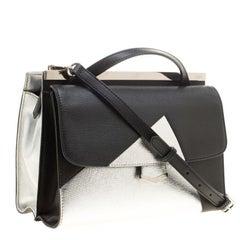 Fendi Black/Silver Textured Leather Small Color Block Demi Jour Shoulder Bag