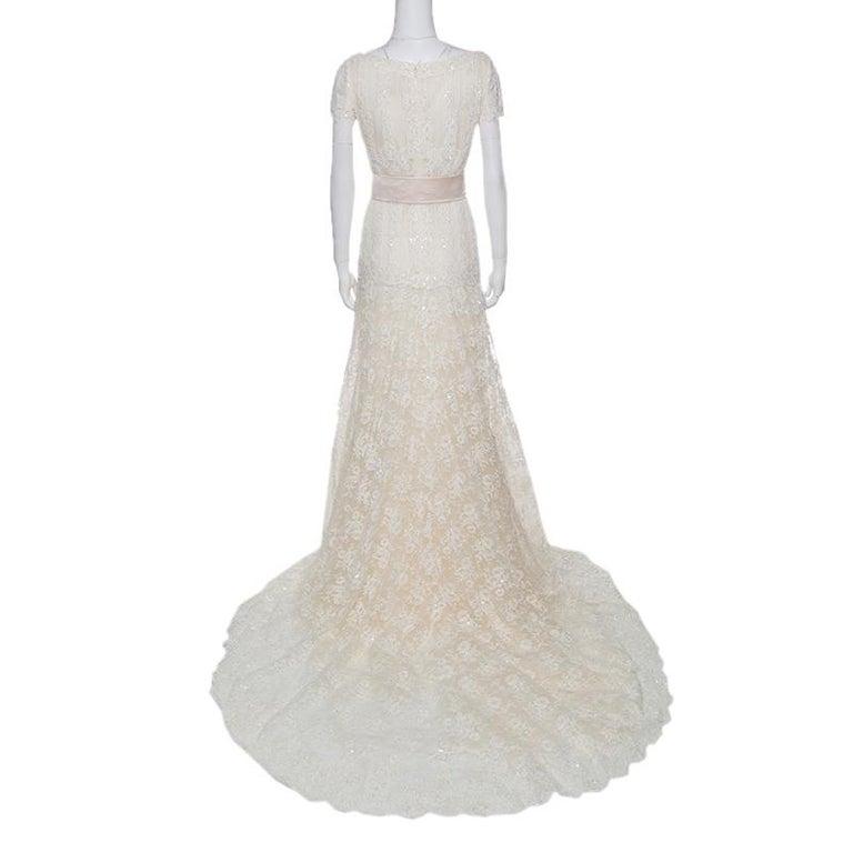 Valentino Sposa Cream Floral Beaded Lace Hesperides Sheath Wedding