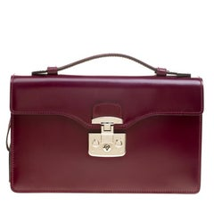 Gucci Purple Leather Lady Lock Briefcase Clutch