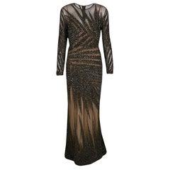 Elie Saab Dark Green Embellished Tulle Long Sleeve Gown S