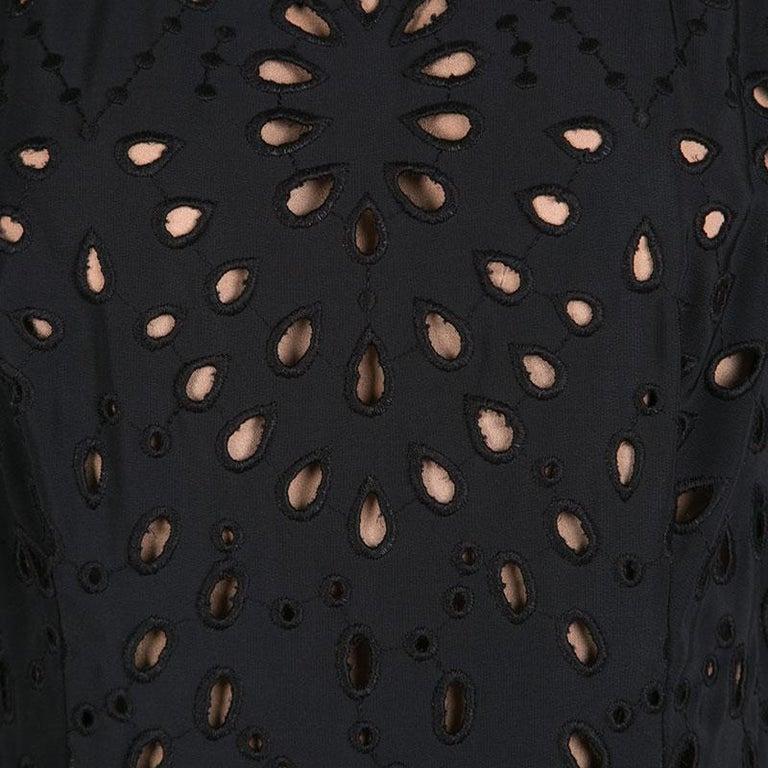 88760b256b3 Women s Elie Saab Black Eyelet Embroidered Gathered Sleeveless Maxi Dress S  For Sale