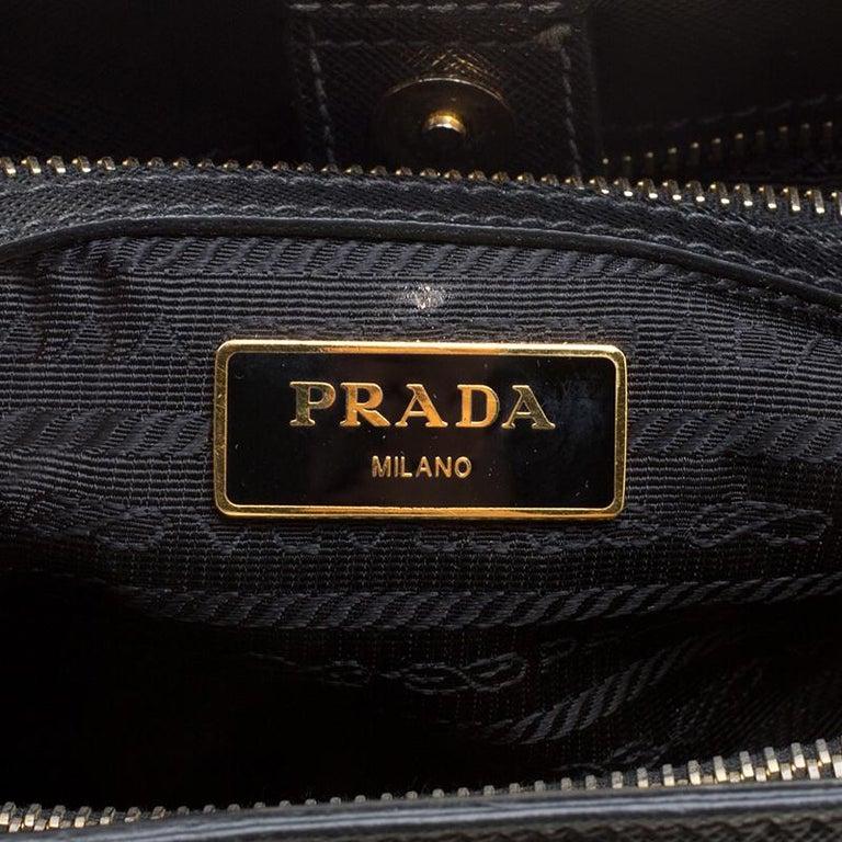 b291e3ba6909 Prada Black Saffiano Lux Leather Medium Double Zip Tote For Sale 3