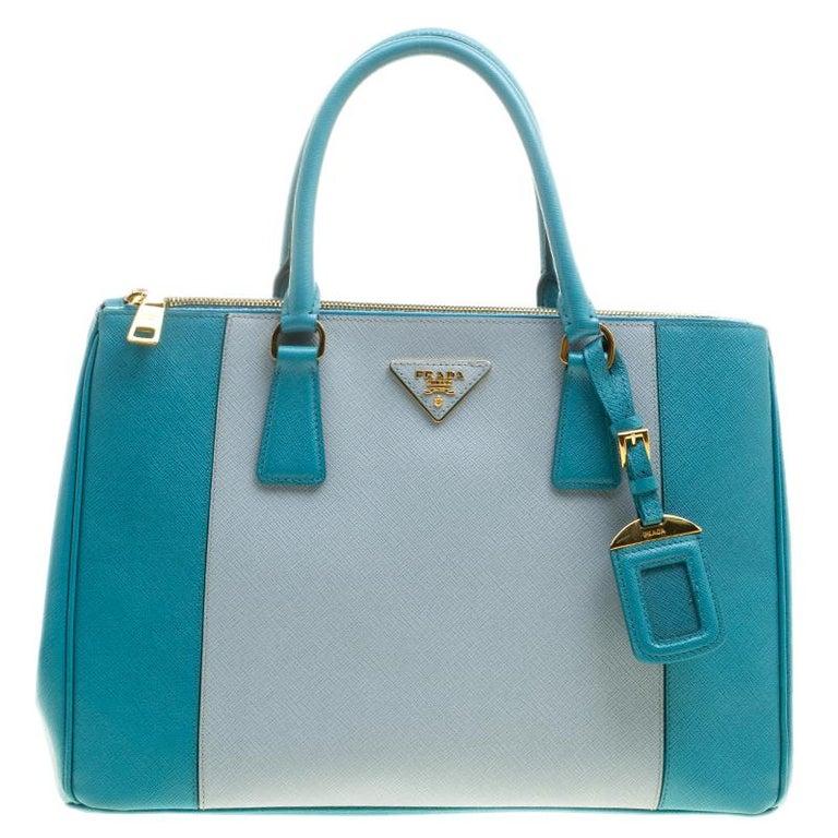 206b4cc268cf Prada Blue Bicolor Saffiano Lux Leather Medium Double Zip Tote For Sale