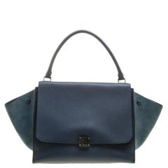 Celine Blue Leather and Suede Large Trapeze Tote f377d1de8d