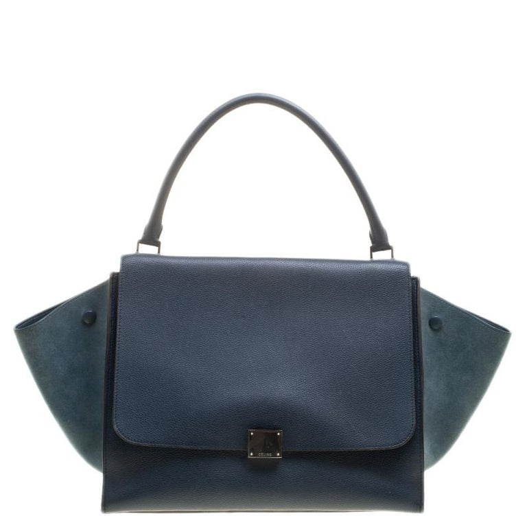 9604d228409 Celine Blue Leather and Suede Large Trapeze Tote For Sale at 1stdibs