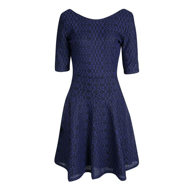 cfe40b0a9b2 Dior Purple and Black Textured Knit Fit and Flare Dress L For Sale ...