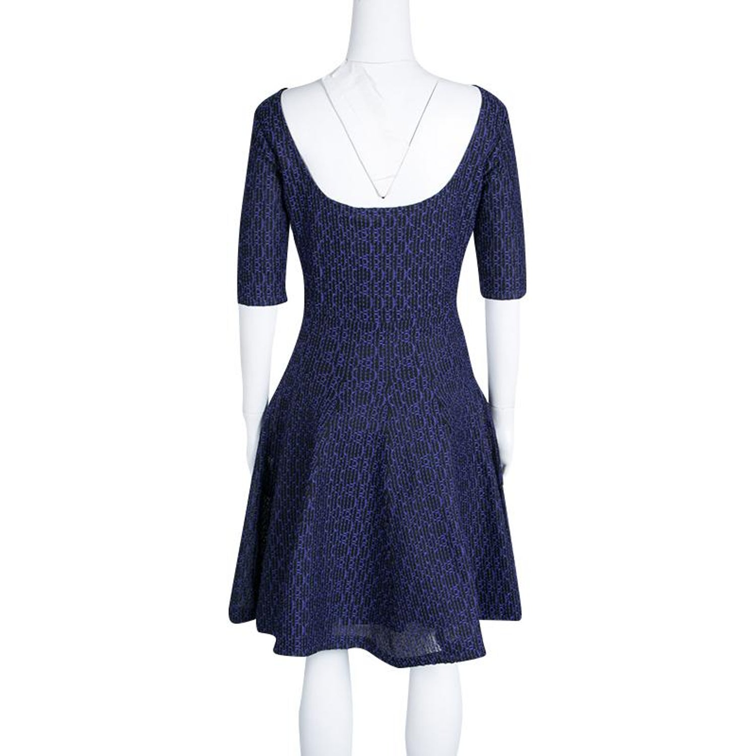 9ba02cfe6c6 Dior Purple and Black Textured Knit Fit and Flare Dress L For Sale at  1stdibs