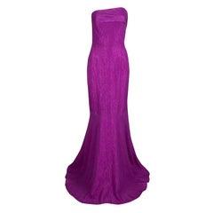 Roland Mouret Bright Violet Puckered Organza Strapless Odell Gown L