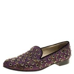 Etro Purple Stud Embellished Fabric Smoking Slippers Size 38.5