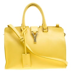 Saint Laurent Paris Yellow Leather Small Cabas Chyc Tote