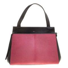 Celine Black/Pink Leather and Calf Hair Medium Edge Bag