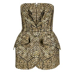 Alexander McQueen Gold and Black Honeycomb Pattern Jacquard Strapless Corset Top