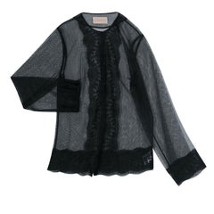 Christopher Kane Black Lace Trim Sheer Tulle Jacket M