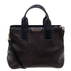 Miu Miu Dark Brown Black Leather Caribou Top Handle Bag 9fa0e16b67