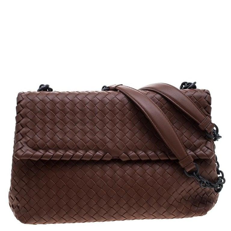 e8ab1e6014 Bottega Veneta Brown Intrecciato Leather Olimpia Shoulder Bag at 1stdibs