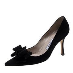 Manolo Blahnik Black Suede Lisa Bow Detail Pointed Toe Pumps Size 38.5