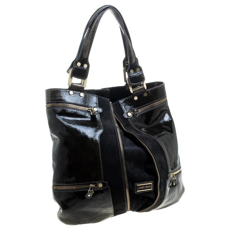 Jimmy Choo Khaki/Black Patent Leather and Suede Large Mona Tote For Sale 1