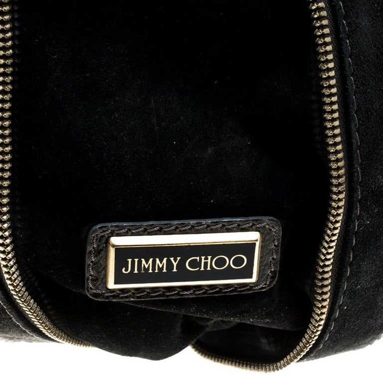 Jimmy Choo Khaki/Black Patent Leather and Suede Large Mona Tote For Sale 3