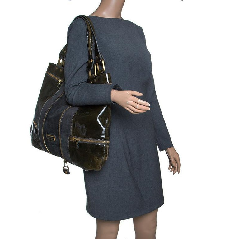 Jimmy Choo Khaki/Black Patent Leather and Suede Large Mona Tote In Good Condition For Sale In Dubai, AE