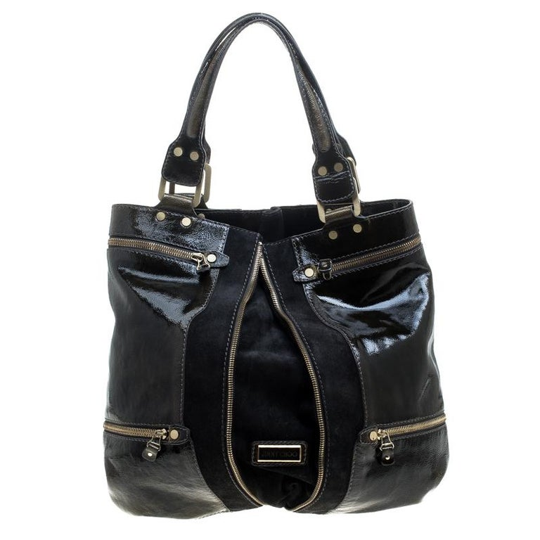 Jimmy Choo Khaki/Black Patent Leather and Suede Large Mona Tote For Sale