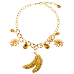 Dolce and Gabbana Banana Crystal Studded Gold Tone Necklace