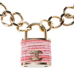 Chanel Tweed CC Oversized Padlock Gold Tone Chain Necklace