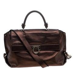 Salvatore Ferragamo Metallic Brown Leather Large Sofia Satchel
