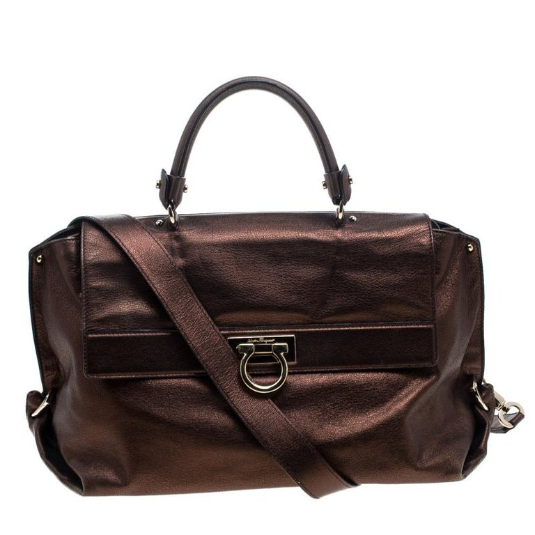 46374752b6a1 Salvatore Ferragamo Metallic Brown Leather Large Sofia Satchel For Sale