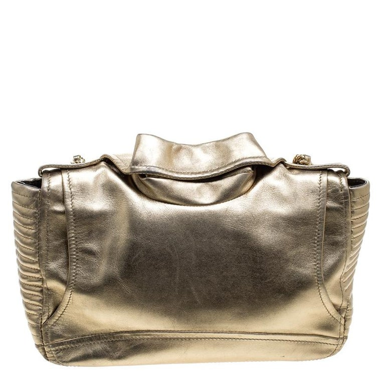 233253ca1f Moschino Gold Leather Medium Capsule Biker Jacket Shoulder Bag For Sale.  From Moschino's SS15 capsule collection, comes this upbeat shoulder bag  that is ...