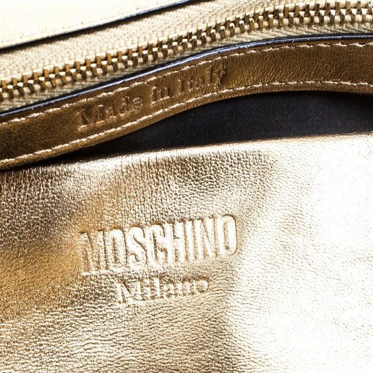 3ab3cbafd4 Moschino Gold Leather Medium Capsule Biker Jacket Shoulder Bag For Sale 2