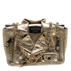 Moschino Gold Leather Medium Capsule Biker Jacket Shoulder Bag