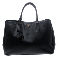 Prada Black Saffiano Lux Leather Large Gardener's Tote