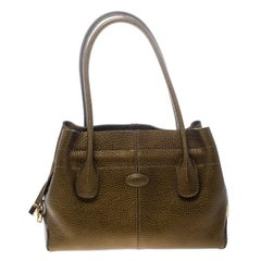 Tod's Dark Gold Leather D Bag Media Tote