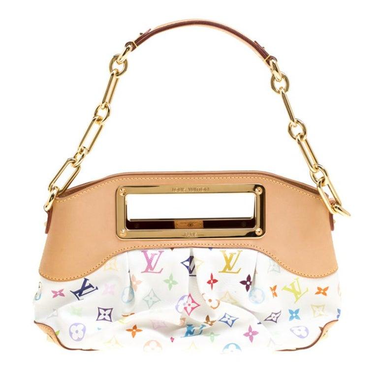 a40ac01dfb1d Louis Vuitton White Multicolor Monogram Canvas Judy MM Bag For Sale ...
