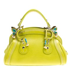 Dior Green Leather Small Limited Edition 0076 Butterfly Detective Satchel