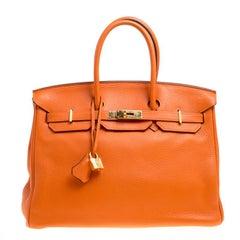 Hermes Tangerine Togo Leather Gold Hardware Birkin 35 Bag