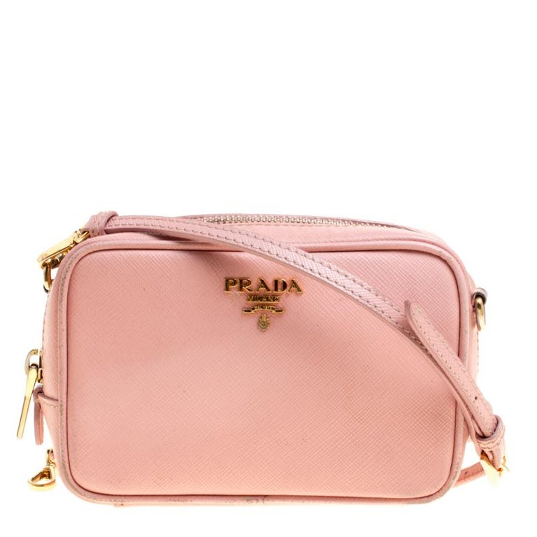 a478cd9f320c Prada Pink Saffiano Lux Leather Camera Crossbody Bag at 1stdibs