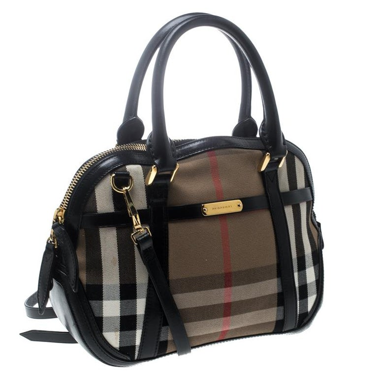 Burberry Black House Check Fabric And Leather Orchard Bowling Bag In Good Condition For