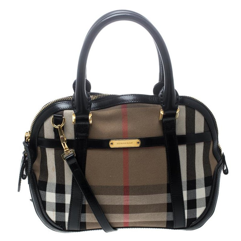 eaf8bf1ac54c Burberry Black House Check Fabric and Leather Orchard Bowling Bag For Sale