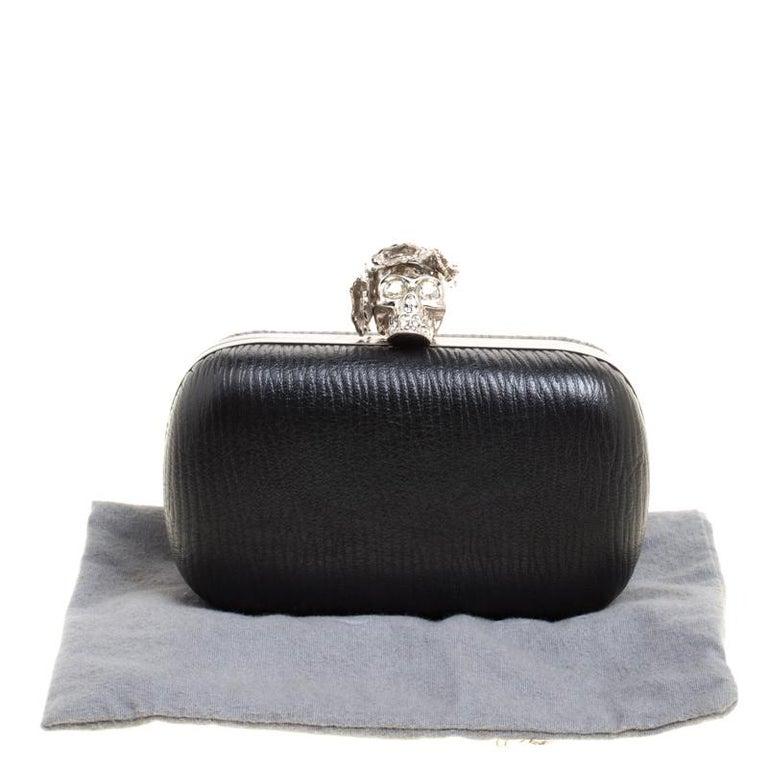 Women's Alexander McQueen Black Leather Skull Box Clutch For Sale