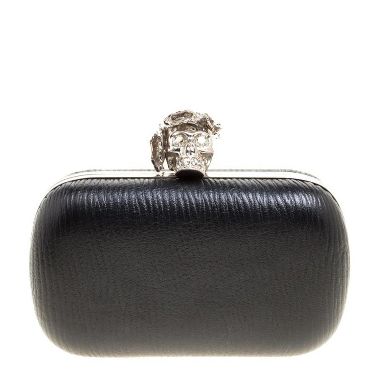 Alexander McQueen Black Leather Skull Box Clutch For Sale