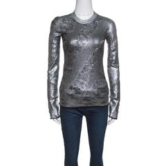 Louis Vuitton Metallic Silver and Black Ribbed Neck Perforated Sweater S