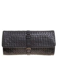 Bottega Veneta Black Shimmering Intrecciato Leather Clutch