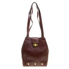 Salvatore Ferragamo Brown Leather Vintage Golden Motifs Shoulder Bag