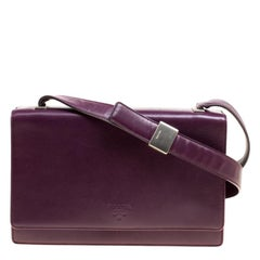 Prada Purple Leather Flap Shoulder Bag