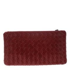 Bottega Veneta Red Intrecciato Leather Pouch