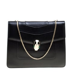 Bvlgari Black Leather Medium Serpenti Forever Shoulder Bag
