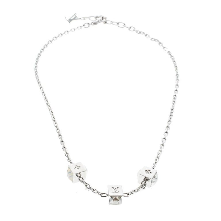 0390eb0499c0 Louis Vuitton Gamble Crystal Silver Tone Station Necklace For Sale.  Artfully made from silver-tone metal